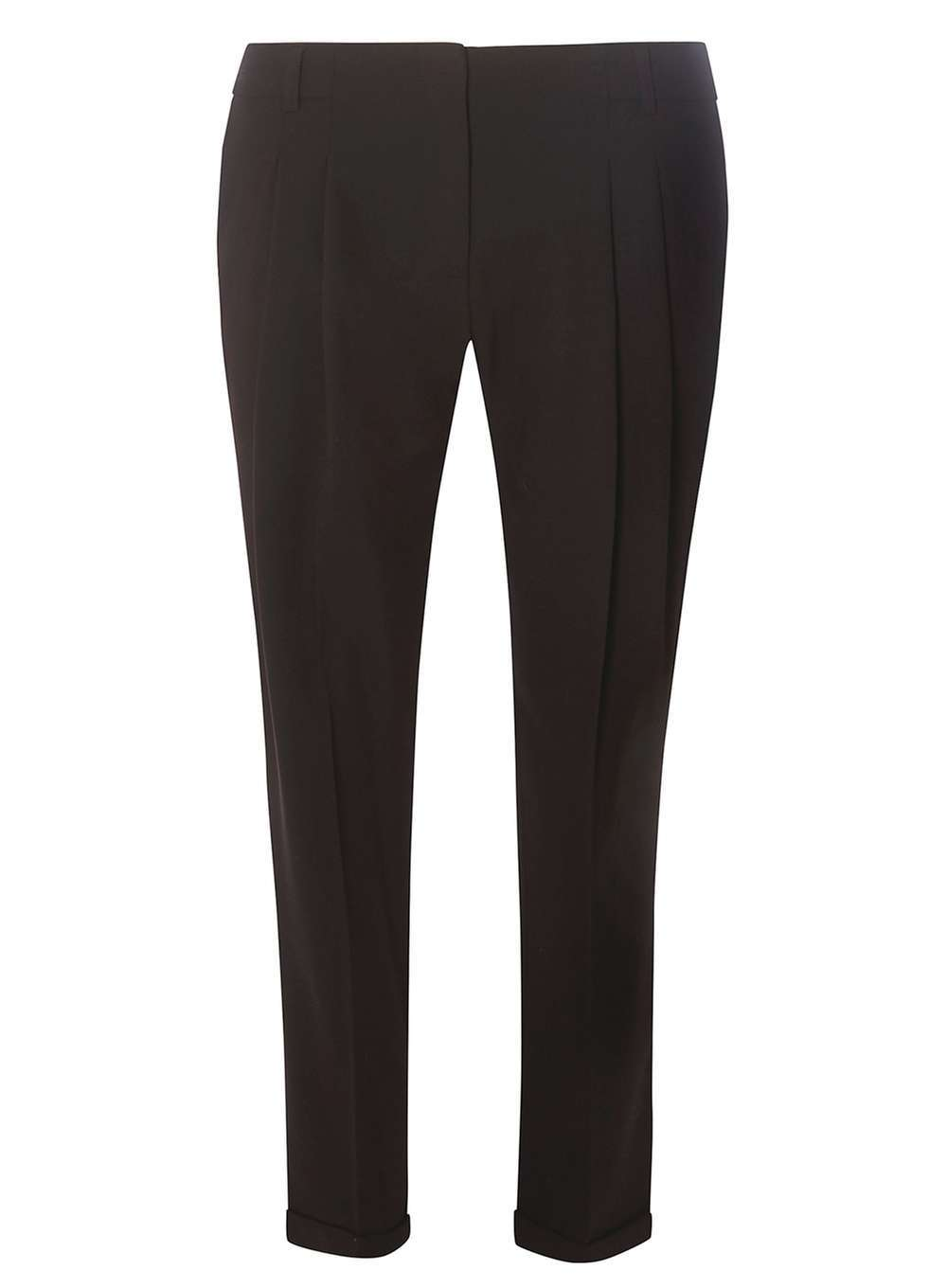 Womens Black Pleat Naples Trousers Black - pattern: plain; waist: mid/regular rise; predominant colour: black; occasions: work, creative work; length: ankle length; fibres: polyester/polyamide - stretch; fit: slim leg; pattern type: fabric; texture group: woven light midweight; style: standard; pattern size: standard (bottom); wardrobe: basic; season: a/w 2016