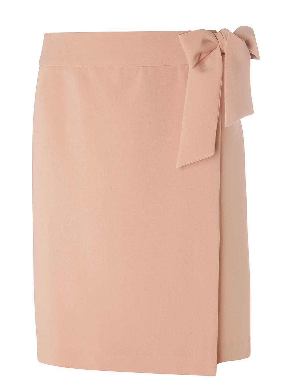 Womens Blush Tie Front Skirt Brown - pattern: plain; style: wrap/faux wrap; waist detail: belted waist/tie at waist/drawstring; waist: mid/regular rise; predominant colour: blush; occasions: work, occasion; length: just above the knee; fibres: polyester/polyamide - stretch; fit: straight cut; pattern type: fabric; texture group: other - light to midweight; wardrobe: basic; season: a/w 2016