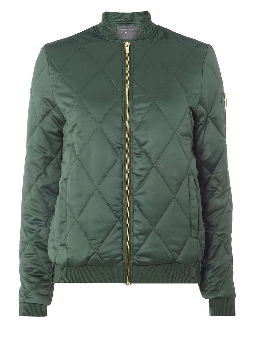 Womens **Tall Diamond Quilted Bomber Jacket Green - pattern: plain; collar: round collar/collarless; fit: slim fit; style: bomber; predominant colour: dark green; occasions: casual; length: standard; fibres: polyester/polyamide - 100%; sleeve length: long sleeve; sleeve style: standard; texture group: technical outdoor fabrics; collar break: high; pattern type: fabric; embellishment: quilted; season: a/w 2016; wardrobe: highlight