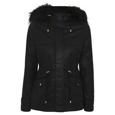 Shower Resistant Hooded Parka Black - pattern: plain; length: standard; collar: funnel; fit: loose; style: parka; back detail: hood; predominant colour: black; occasions: casual; fibres: cotton - 100%; waist detail: belted waist/tie at waist/drawstring; sleeve length: long sleeve; sleeve style: standard; texture group: waxed cotton; collar break: high; pattern type: fabric; embellishment: fur; season: a/w 2016; wardrobe: highlight; embellishment location: neck