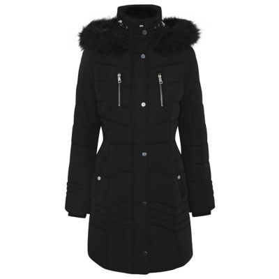 Shower Resistant Long Line Padded Coat Black - pattern: plain; collar: funnel; fit: loose; style: parka; back detail: hood; length: mid thigh; predominant colour: black; occasions: casual; fibres: polyester/polyamide - 100%; sleeve length: long sleeve; sleeve style: standard; collar break: high; pattern type: fabric; texture group: other - bulky/heavy; embellishment: fur; season: a/w 2016; wardrobe: highlight
