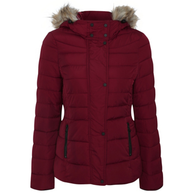Shower Resistant Hooded Parka Red - pattern: plain; length: standard; collar: funnel; fit: loose; style: quilted; back detail: hood; predominant colour: burgundy; occasions: casual; fibres: polyester/polyamide - 100%; sleeve length: long sleeve; sleeve style: standard; collar break: high; pattern type: fabric; texture group: other - bulky/heavy; embellishment: fur; season: a/w 2016; wardrobe: highlight