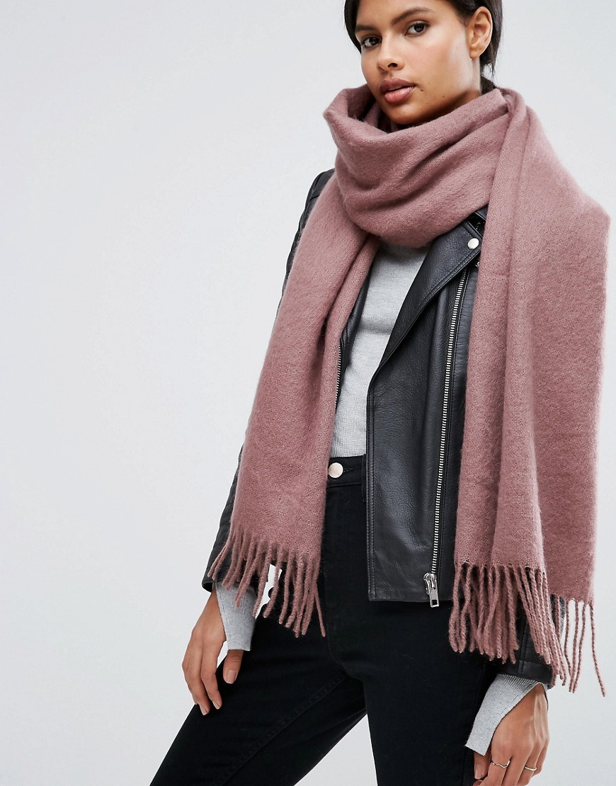 Supersoft Long Woven Scarf With Tassels Dusty Mauve/Pink - occasions: casual; type of pattern: standard; style: regular; size: large; material: fabric; embellishment: fringing; pattern: plain; predominant colour: dusky pink; season: a/w 2016; wardrobe: highlight