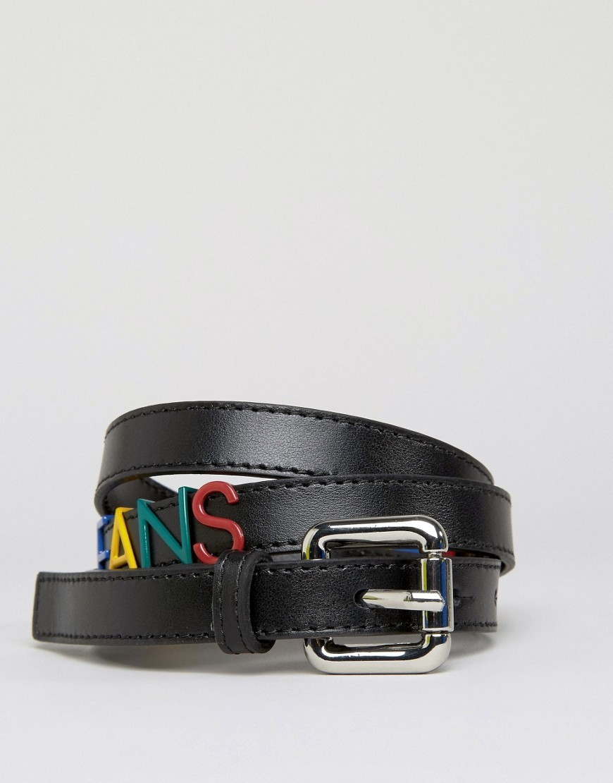 Belt With Lettering In Black Black - predominant colour: black; occasions: casual, creative work; type of pattern: standard; style: classic; size: standard; worn on: hips; material: leather; pattern: plain; finish: plain; season: a/w 2016