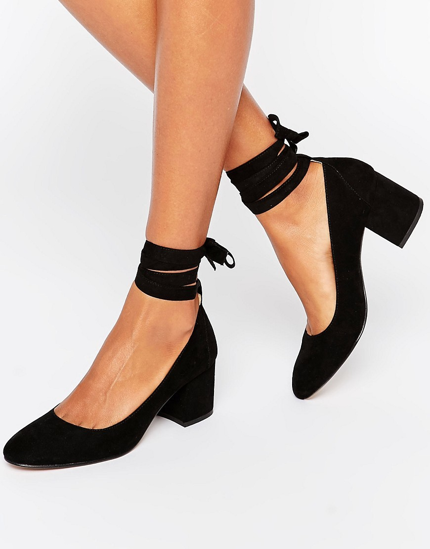 Tie Ankle Mid Heel Shoe Black Micro - predominant colour: black; occasions: work, creative work; heel height: mid; ankle detail: ankle tie; heel: block; toe: round toe; style: courts; finish: plain; pattern: plain; material: faux suede; wardrobe: investment; season: a/w 2016