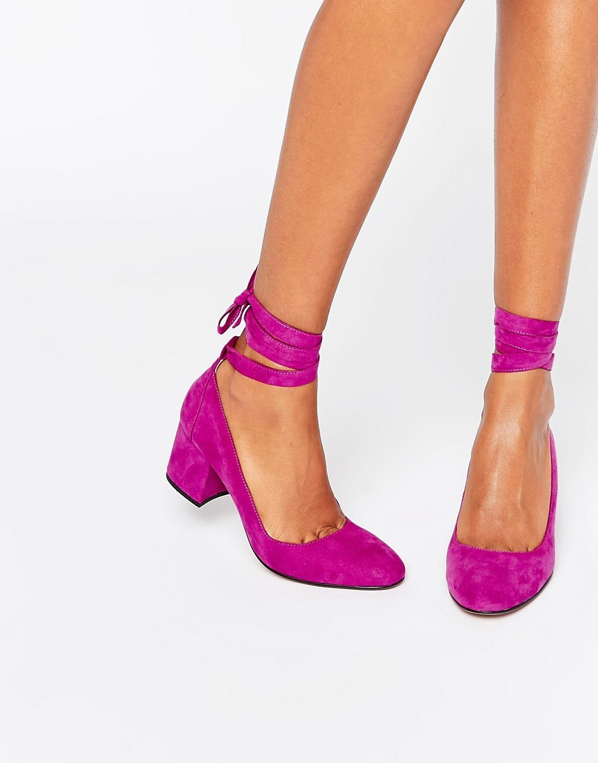 Tie Ankle Mid Heel Shoe Purple Micro - predominant colour: hot pink; occasions: evening; heel height: mid; ankle detail: ankle tie; heel: block; toe: round toe; style: courts; finish: plain; pattern: plain; material: faux suede; season: a/w 2016; wardrobe: event