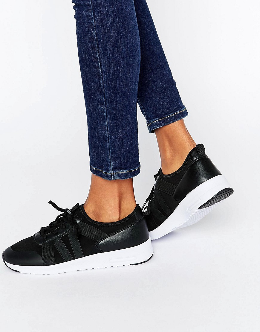Elastic Strap Trainer Black - predominant colour: black; occasions: casual; material: faux leather; heel height: flat; toe: round toe; style: trainers; finish: plain; pattern: plain; season: a/w 2016