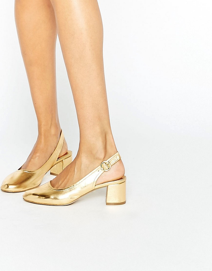 Starlight Leather Mid Heels Gold - predominant colour: gold; occasions: evening; material: faux leather; heel height: mid; heel: block; toe: round toe; style: slingbacks; finish: metallic; pattern: plain; season: a/w 2016; wardrobe: event