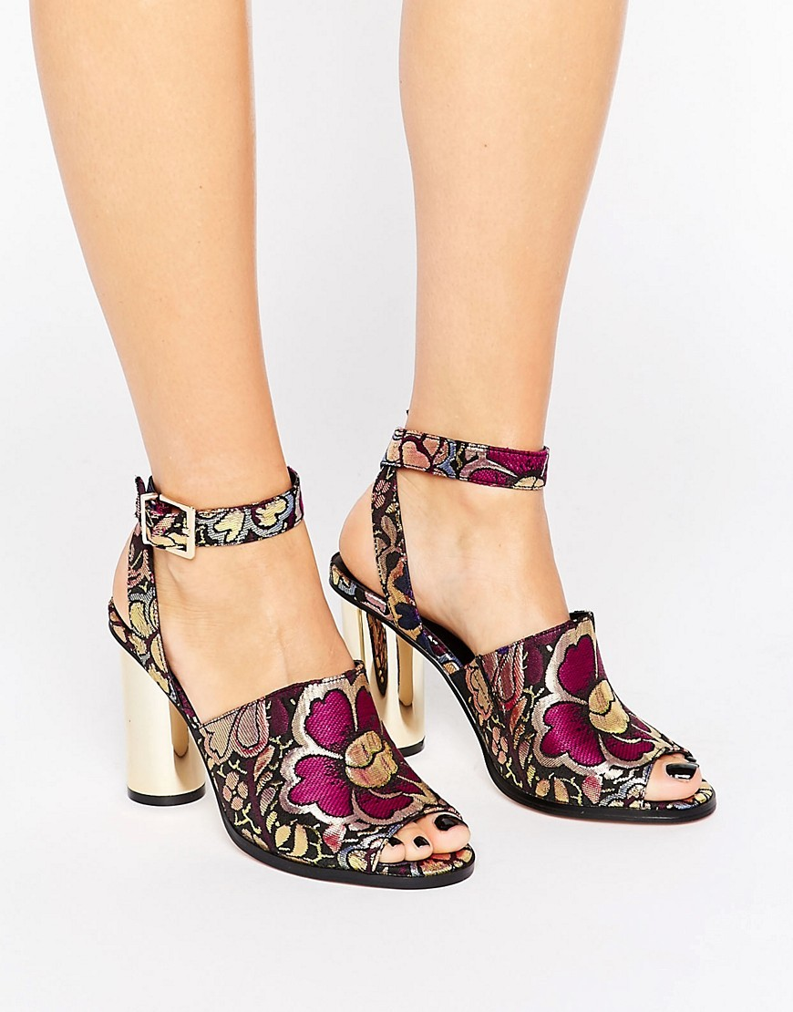 Hena Co Ord Heeled Sandals Jacquard - predominant colour: magenta; secondary colour: black; occasions: evening; material: fabric; heel height: high; ankle detail: ankle strap; heel: block; toe: open toe/peeptoe; style: standard; finish: plain; pattern: animal print; season: a/w 2016; wardrobe: event