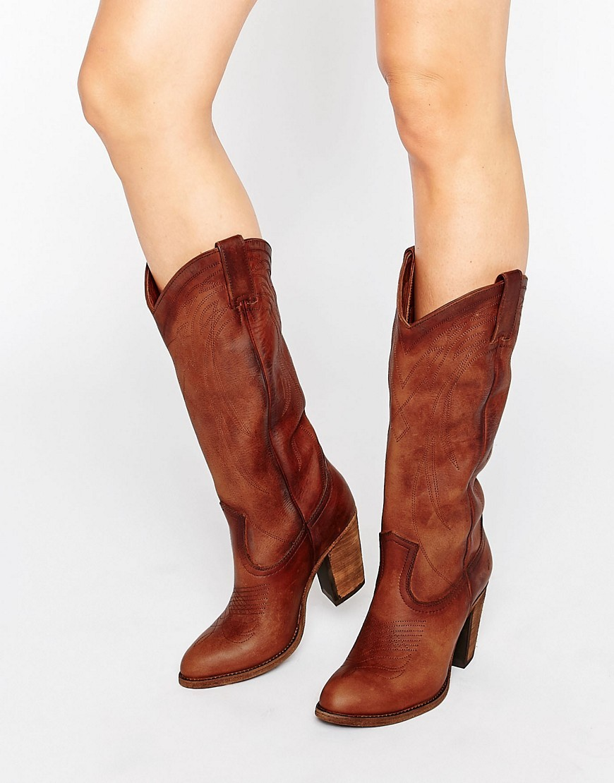 Jackie Button Western Leather Heeled Knee Boots Cognac Soft Vintage - predominant colour: tan; occasions: casual, creative work; material: leather; heel height: high; heel: block; toe: round toe; boot length: mid calf; style: cowboy; finish: plain; pattern: plain; season: a/w 2016; wardrobe: highlight