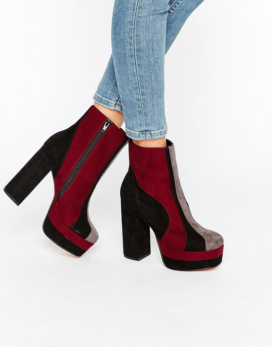Emi Platform Boots Multi - predominant colour: burgundy; secondary colour: black; occasions: casual, creative work; material: suede; heel: block; toe: round toe; boot length: ankle boot; style: standard; finish: plain; pattern: colourblock; heel height: very high; shoe detail: platform; multicoloured: multicoloured; season: a/w 2016; wardrobe: highlight