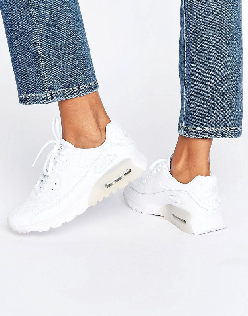 Air Max 90 Ultra Essentials Trainers In White Hite Metallic Silver - predominant colour: white; occasions: casual; material: leather; heel height: flat; toe: round toe; style: trainers; finish: plain; pattern: plain; shoe detail: moulded soul; season: a/w 2016; wardrobe: highlight