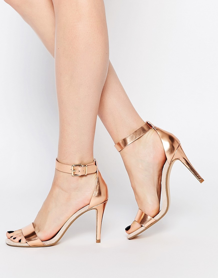 Mara Rose Gold Leather Two Part Sandals Rose Gold - predominant colour: gold; occasions: evening, occasion; material: leather; heel height: high; ankle detail: ankle strap; heel: stiletto; toe: open toe/peeptoe; style: strappy; finish: metallic; pattern: plain; season: a/w 2016; trends: metallics