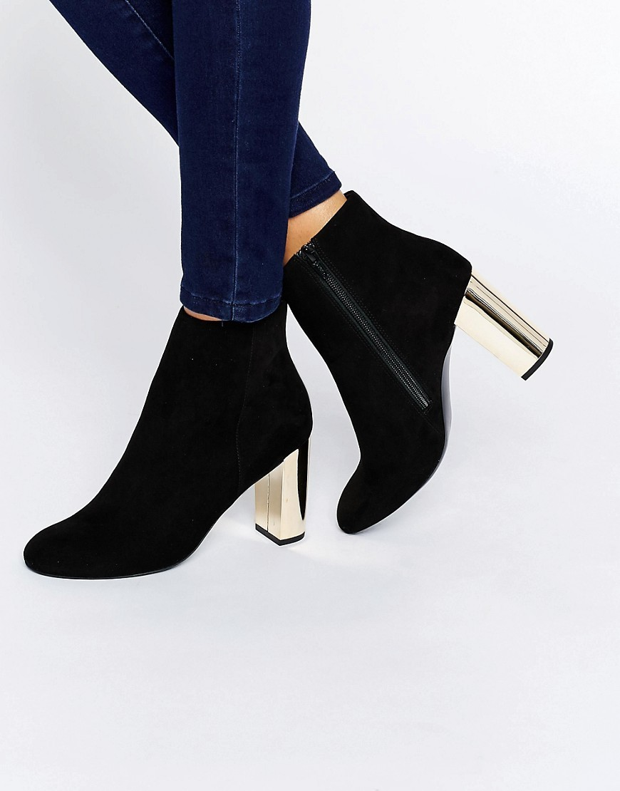 Gold Heeled Boots Black - secondary colour: gold; predominant colour: black; occasions: casual, creative work; material: faux leather; heel height: high; heel: standard; toe: round toe; boot length: ankle boot; style: standard; finish: plain; pattern: plain; season: a/w 2016; wardrobe: highlight