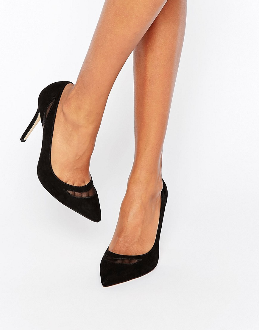 Mesh Detail Court Shoes Black - predominant colour: black; occasions: evening, occasion; material: fabric; heel height: high; heel: stiletto; toe: pointed toe; style: courts; finish: plain; pattern: plain; season: a/w 2016; wardrobe: event