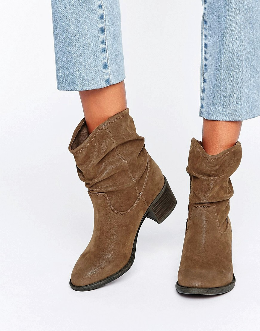 Travis Slouchy Ankle Boots Tan Synthetic - predominant colour: chocolate brown; occasions: casual, creative work; heel height: mid; heel: block; toe: round toe; boot length: ankle boot; style: standard; finish: plain; pattern: plain; material: faux suede; wardrobe: basic; season: a/w 2016