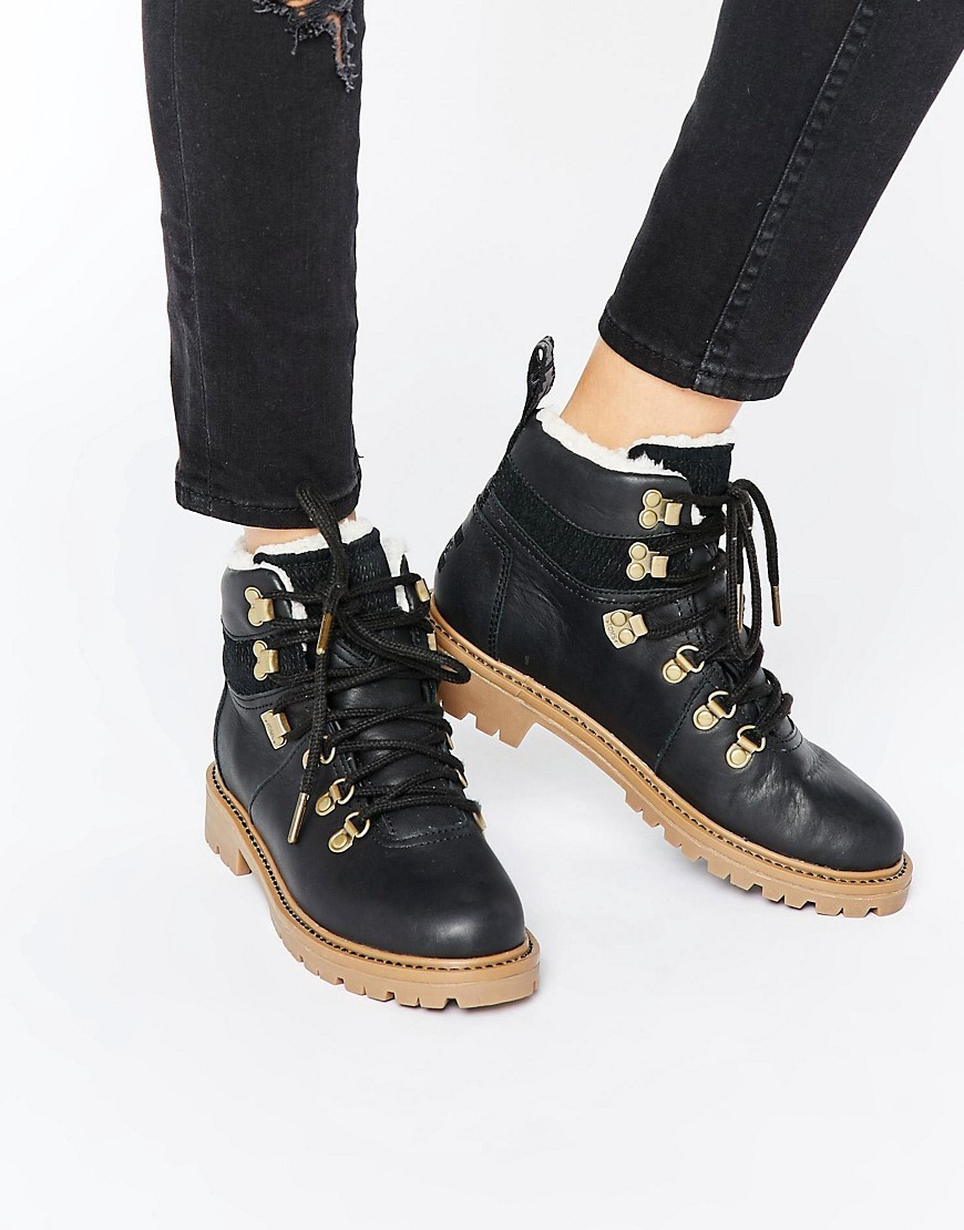 Leather Hiker Boots Black Leather - predominant colour: black; occasions: casual, creative work; material: leather; heel height: mid; embellishment: buckles; heel: block; toe: round toe; boot length: ankle boot; style: standard; finish: plain; pattern: plain; wardrobe: basic; season: a/w 2016