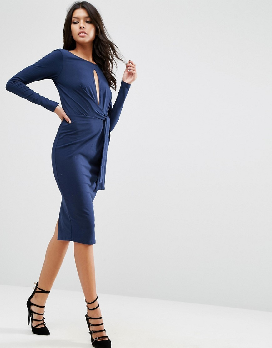 Tie Side Long Sleeve Plunge Midi Dress Navy - length: below the knee; fit: tight; pattern: plain; style: bodycon; waist detail: belted waist/tie at waist/drawstring; predominant colour: navy; occasions: evening; neckline: peep hole neckline; fibres: polyester/polyamide - stretch; sleeve length: long sleeve; sleeve style: standard; texture group: jersey - clingy; pattern type: fabric; season: a/w 2016; wardrobe: event
