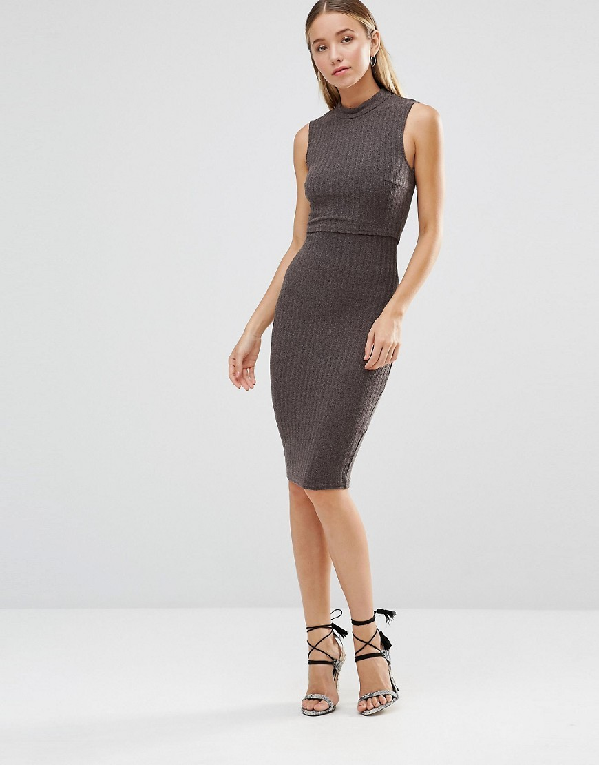 Ribbed Knitted Bodycon Overlay Midi Dress Charcoal - fit: tight; pattern: plain; sleeve style: sleeveless; neckline: high neck; style: bodycon; predominant colour: charcoal; occasions: evening; length: on the knee; fibres: polyester/polyamide - stretch; sleeve length: sleeveless; texture group: jersey - clingy; pattern type: fabric; season: a/w 2016; wardrobe: event