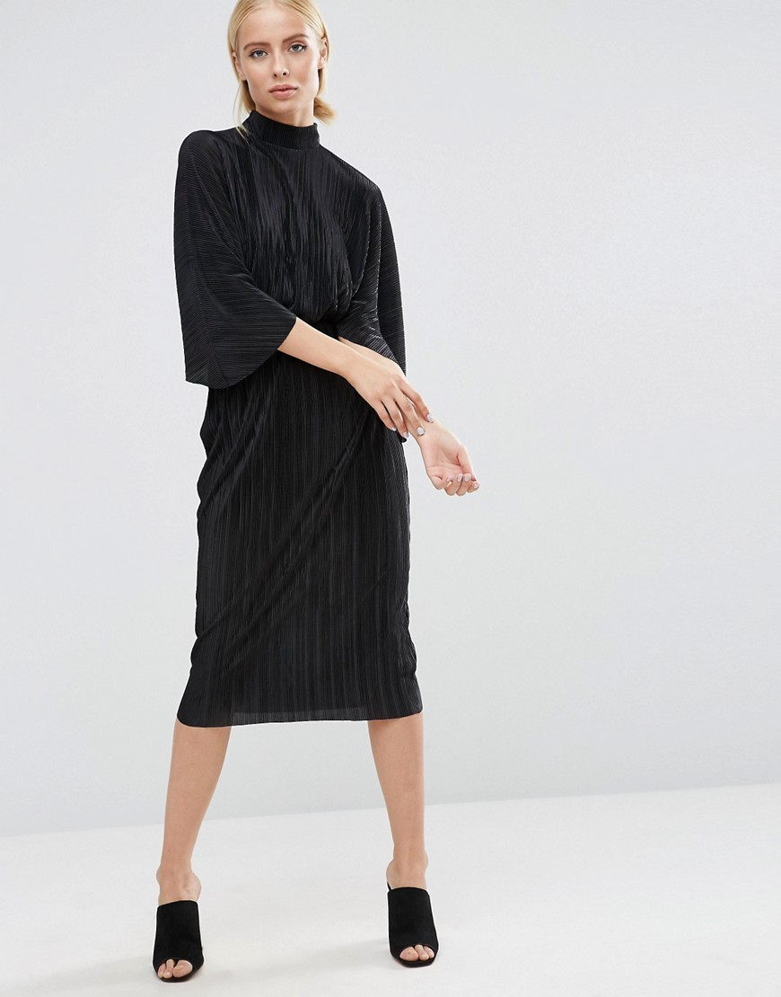 Plisse Dress With High Neck Black - style: smock; length: below the knee; fit: loose; pattern: plain; neckline: high neck; predominant colour: black; occasions: evening; fibres: polyester/polyamide - 100%; sleeve length: 3/4 length; sleeve style: standard; pattern type: fabric; texture group: other - light to midweight; season: a/w 2016; wardrobe: event