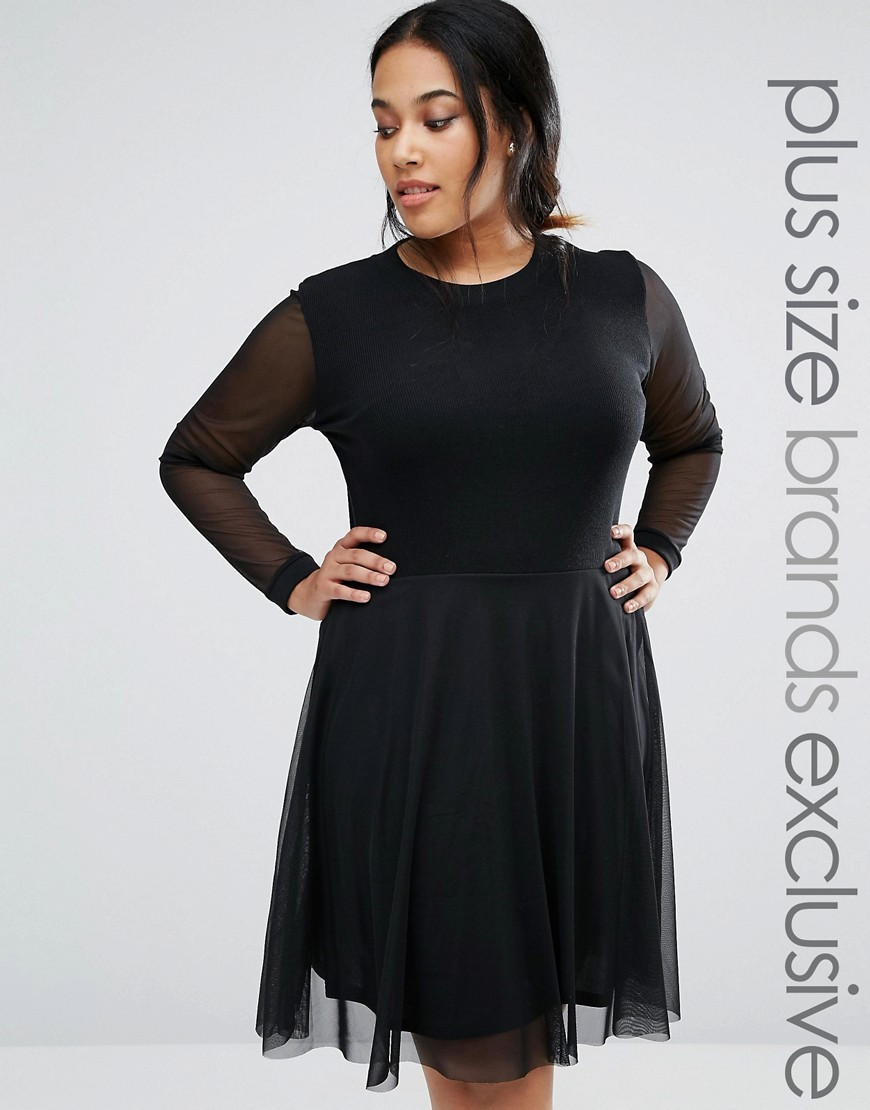 2 In 1 Skater Dress With Mesh Sleeves Black - pattern: plain; predominant colour: black; occasions: evening; length: on the knee; fit: fitted at waist & bust; style: fit & flare; fibres: polyester/polyamide - stretch; neckline: crew; sleeve length: long sleeve; sleeve style: standard; pattern type: fabric; texture group: jersey - stretchy/drapey; season: a/w 2016