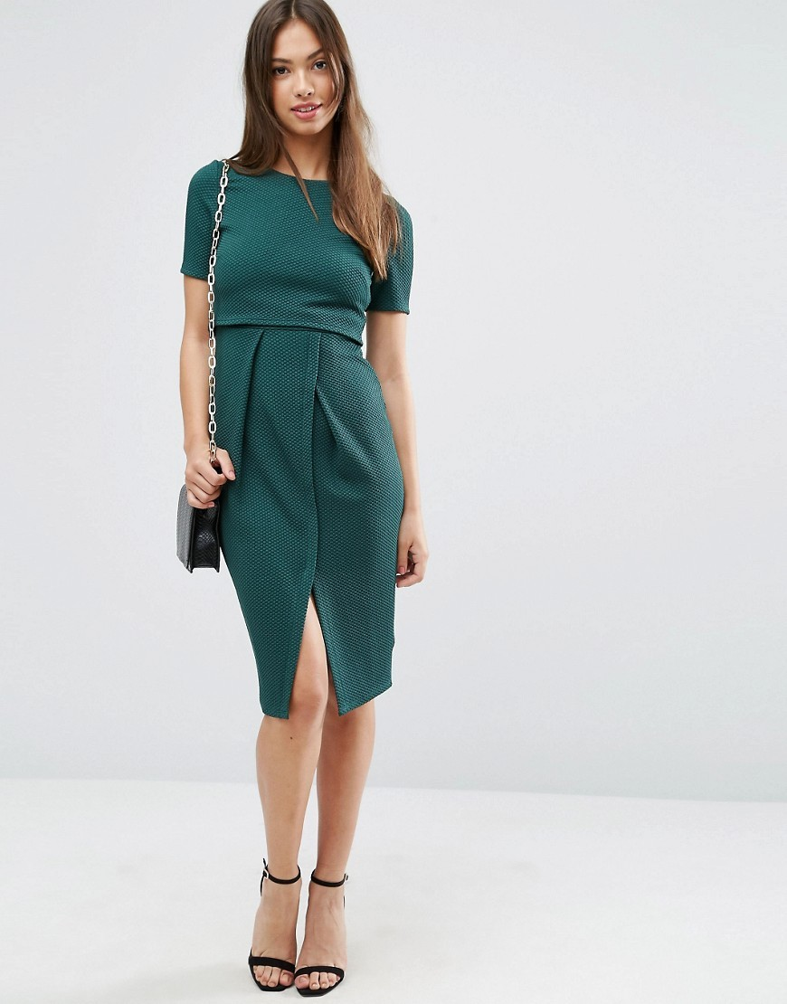 Double Layer Textured Wiggle Dress Dark Green - style: shift; length: below the knee; fit: tailored/fitted; pattern: plain; hip detail: draws attention to hips; predominant colour: dark green; occasions: evening, work; fibres: polyester/polyamide - stretch; neckline: crew; sleeve length: short sleeve; sleeve style: standard; pattern type: fabric; texture group: other - light to midweight; season: a/w 2016; wardrobe: highlight