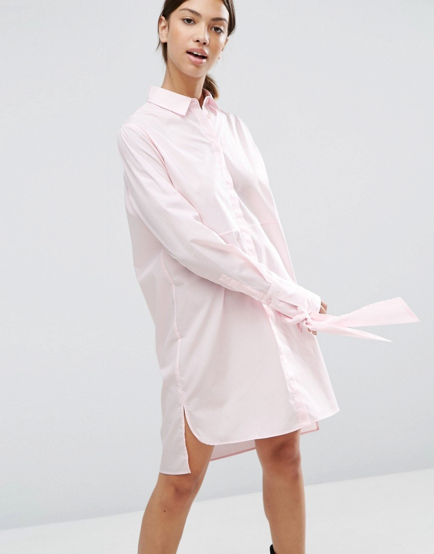 Cotton Shirt Dress With Oversized Cuff & Bow Detail Pink - style: shirt; neckline: shirt collar/peter pan/zip with opening; fit: loose; pattern: plain; predominant colour: blush; occasions: casual; length: just above the knee; fibres: cotton - 100%; sleeve length: long sleeve; sleeve style: standard; texture group: cotton feel fabrics; pattern type: fabric; season: a/w 2016