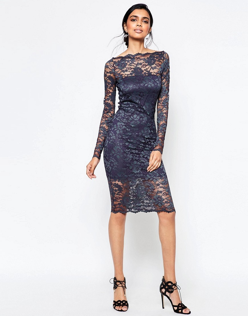 Lace Midi Dress With Scallop Hem Navy/Potting Soil - neckline: slash/boat neckline; fit: tight; style: bodycon; bust detail: sheer at bust; predominant colour: navy; occasions: evening; length: on the knee; fibres: polyester/polyamide - stretch; sleeve length: long sleeve; sleeve style: standard; texture group: lace; pattern type: fabric; pattern: patterned/print; shoulder detail: sheer at shoulder; season: a/w 2016; wardrobe: event