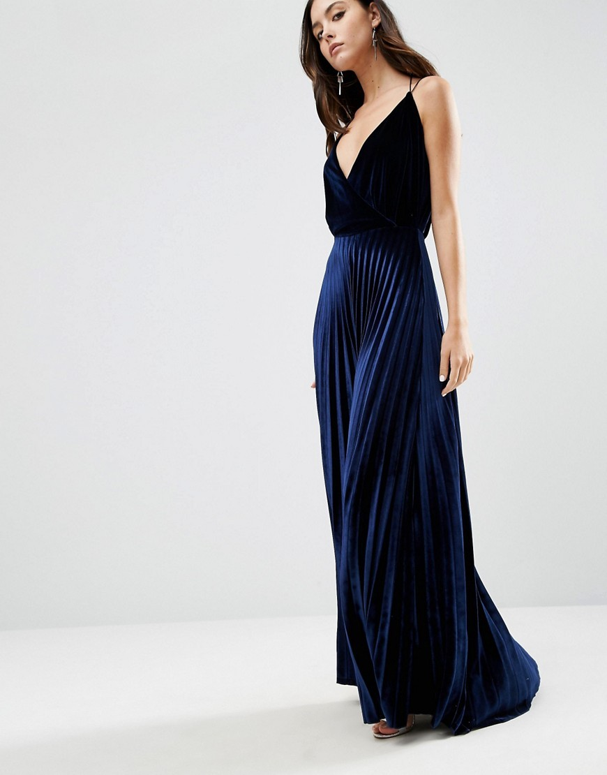 Blouson Strappy Pleated Velvet Maxi Dress Navy - neckline: low v-neck; sleeve style: spaghetti straps; fit: fitted at waist; pattern: plain; style: maxi dress; length: ankle length; predominant colour: navy; occasions: evening, occasion; fibres: polyester/polyamide - mix; hip detail: subtle/flattering hip detail; sleeve length: sleeveless; pattern type: fabric; texture group: velvet/fabrics with pile; season: a/w 2016; wardrobe: event; trends: velvet