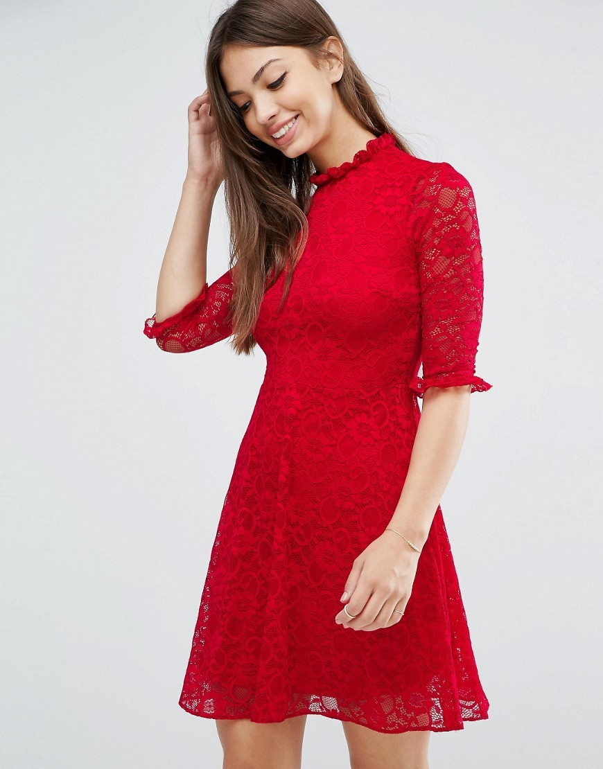 Lace Skater Dress Bright Red - length: mid thigh; pattern: plain; neckline: high neck; predominant colour: true red; occasions: evening; fit: fitted at waist & bust; style: fit & flare; sleeve length: half sleeve; sleeve style: standard; texture group: lace; pattern type: fabric; fibres: nylon - stretch; season: a/w 2016; wardrobe: event