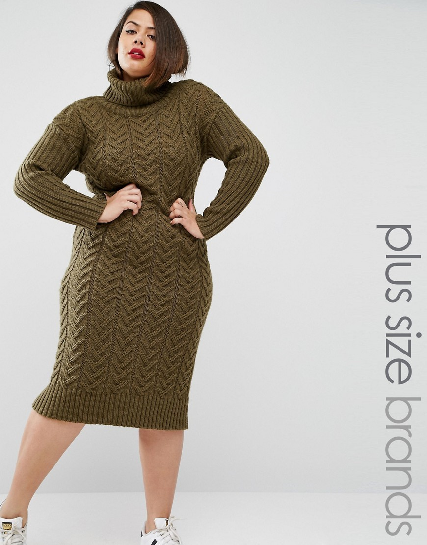 Knitted Utility Roll Neck Midi Dress Khaki - style: jumper dress; length: below the knee; fit: loose; pattern: plain; neckline: roll neck; predominant colour: khaki; occasions: casual; fibres: acrylic - mix; sleeve length: long sleeve; sleeve style: standard; texture group: knits/crochet; pattern type: knitted - other; season: a/w 2016