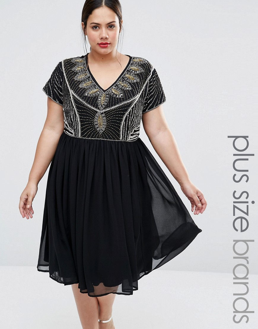 Plus Skater Dress With Heavily Embellished Top Black - neckline: v-neck; secondary colour: light grey; predominant colour: black; occasions: evening; length: on the knee; fit: fitted at waist & bust; style: fit & flare; fibres: polyester/polyamide - 100%; sleeve length: short sleeve; sleeve style: standard; pattern type: fabric; pattern: patterned/print; texture group: other - light to midweight; embellishment: beading; multicoloured: multicoloured; season: a/w 2016; wardrobe: event; embellishment location: top