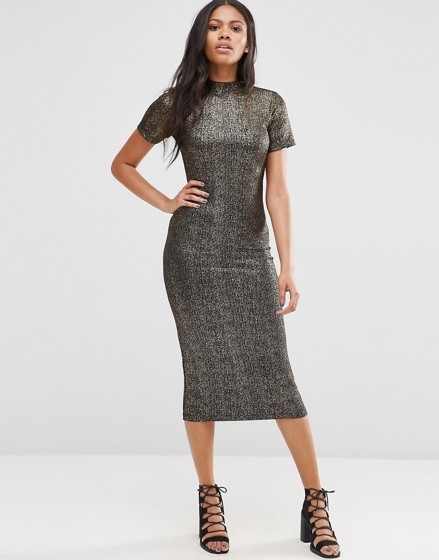 Wavery Midi Dress In Shimmer Fabric Black/Gold - length: below the knee; fit: tight; neckline: high neck; style: bodycon; predominant colour: silver; occasions: evening; fibres: polyester/polyamide - stretch; sleeve length: short sleeve; sleeve style: standard; texture group: jersey - clingy; pattern type: fabric; pattern: patterned/print; season: a/w 2016; wardrobe: event