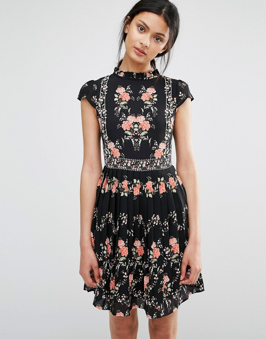 Floral Print Tea Dress Black - sleeve style: capped; neckline: high neck; secondary colour: pink; predominant colour: black; occasions: evening; length: just above the knee; fit: fitted at waist & bust; style: fit & flare; fibres: polyester/polyamide - 100%; sleeve length: short sleeve; pattern type: fabric; pattern: patterned/print; texture group: jersey - stretchy/drapey; multicoloured: multicoloured; season: a/w 2016; wardrobe: event