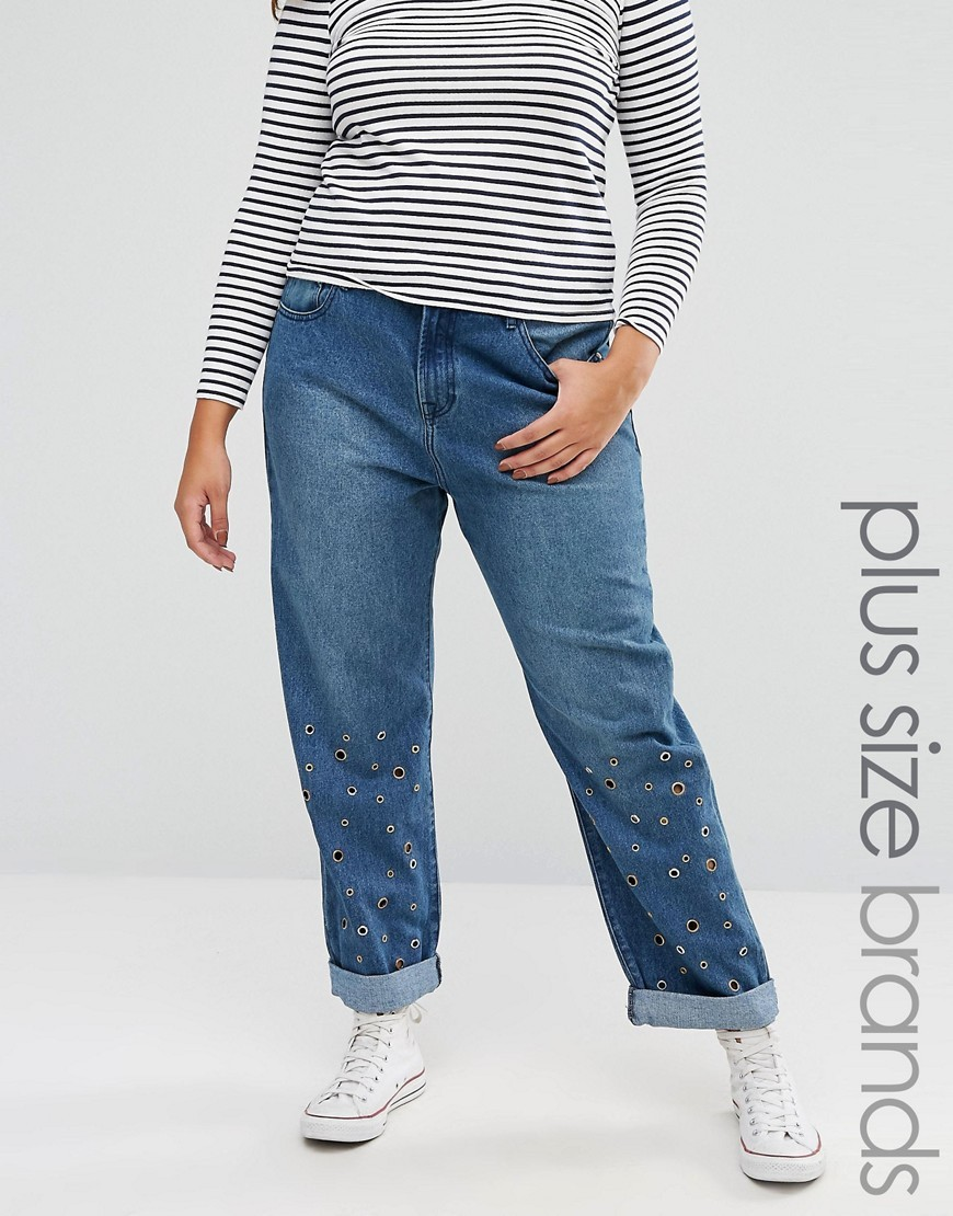 Eyelet Boyfriend Jeans Mid Blue - style: boyfriend; length: standard; pattern: plain; waist: mid/regular rise; predominant colour: navy; occasions: casual; fibres: cotton - 100%; texture group: denim; pattern type: fabric; wardrobe: basic; season: a/w 2016