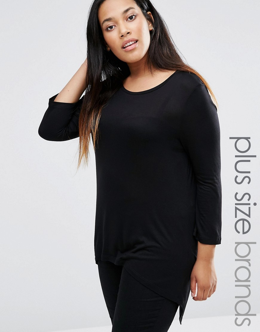 3/4 Sleeve Hi Lo Jersey Top Black - pattern: plain; length: below the bottom; predominant colour: black; occasions: casual; style: top; fibres: polyester/polyamide - 100%; fit: body skimming; neckline: crew; sleeve length: 3/4 length; sleeve style: standard; pattern type: fabric; texture group: jersey - stretchy/drapey; wardrobe: basic; season: a/w 2016