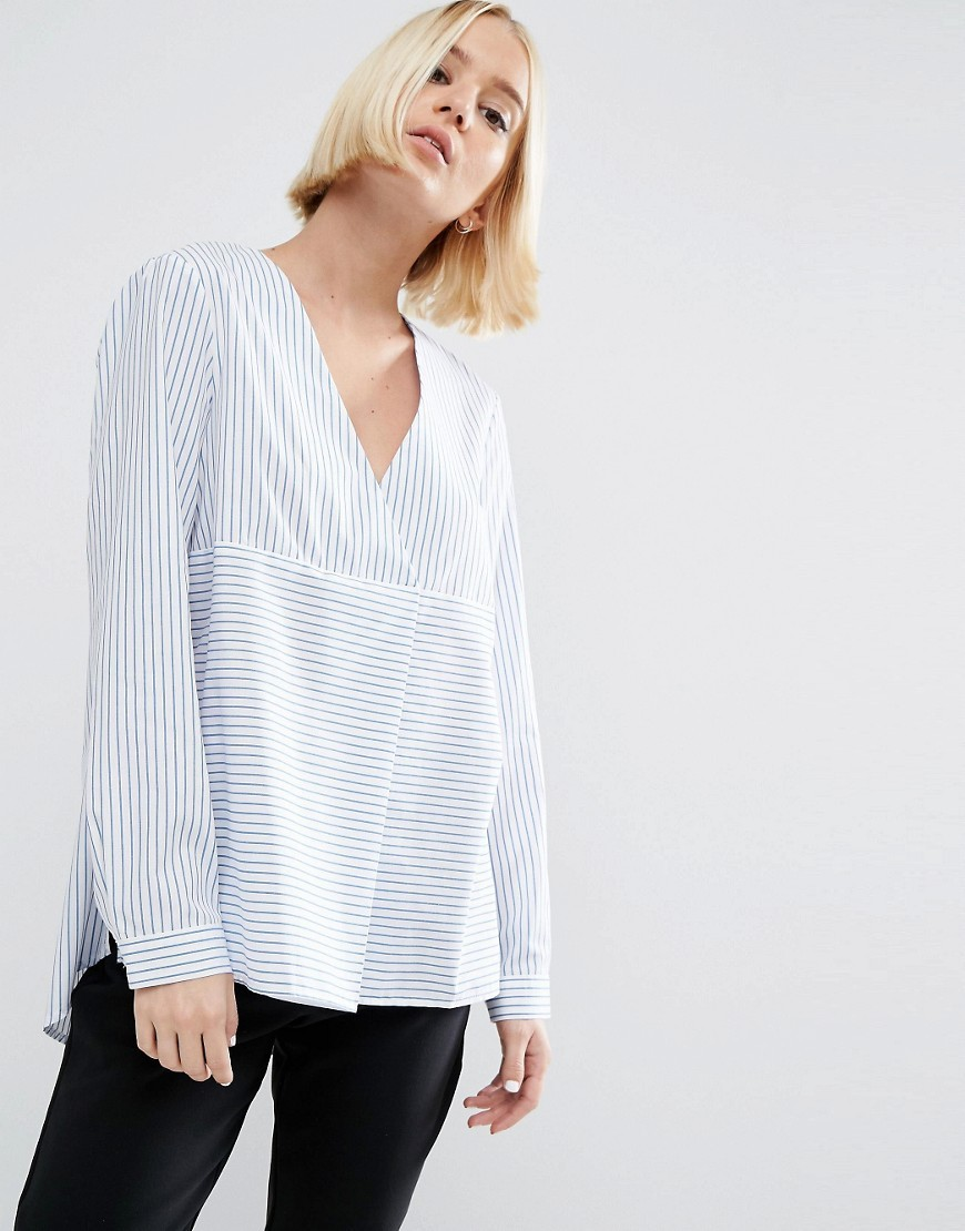 Stripe Cotton Shirt Top Blue/White - neckline: v-neck; pattern: plain; length: below the bottom; style: shirt; predominant colour: pale blue; occasions: casual, creative work; fibres: cotton - 100%; fit: loose; sleeve length: long sleeve; sleeve style: standard; texture group: cotton feel fabrics; pattern type: fabric; season: a/w 2016