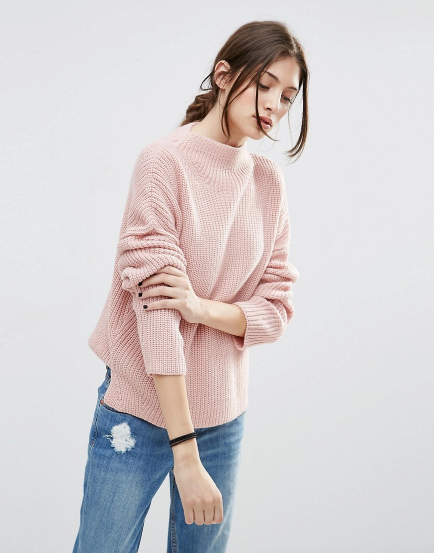 Ultimate Chunky Jumper With High Neck Blush - pattern: plain; neckline: high neck; style: standard; predominant colour: pink; occasions: casual, creative work; length: standard; fibres: acrylic - 100%; fit: loose; sleeve length: long sleeve; sleeve style: standard; texture group: knits/crochet; pattern type: knitted - big stitch; pattern size: standard; season: a/w 2016; wardrobe: highlight
