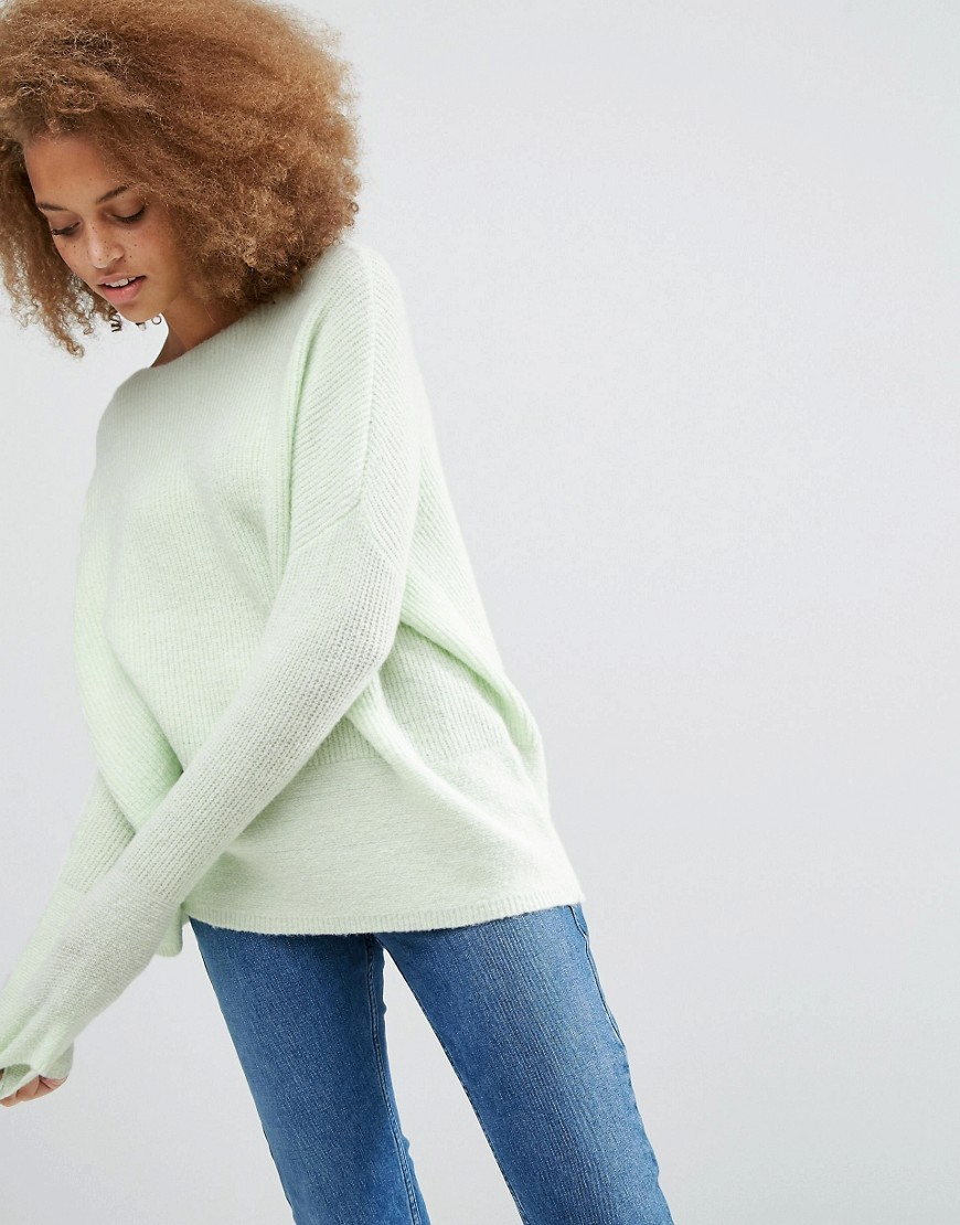 Ultimate Chunky Jumper Mint - neckline: slash/boat neckline; pattern: plain; length: below the bottom; style: standard; predominant colour: pistachio; occasions: casual, creative work; fibres: acrylic - mix; fit: loose; sleeve length: long sleeve; sleeve style: standard; texture group: knits/crochet; pattern type: knitted - fine stitch; pattern size: standard; season: a/w 2016; wardrobe: highlight