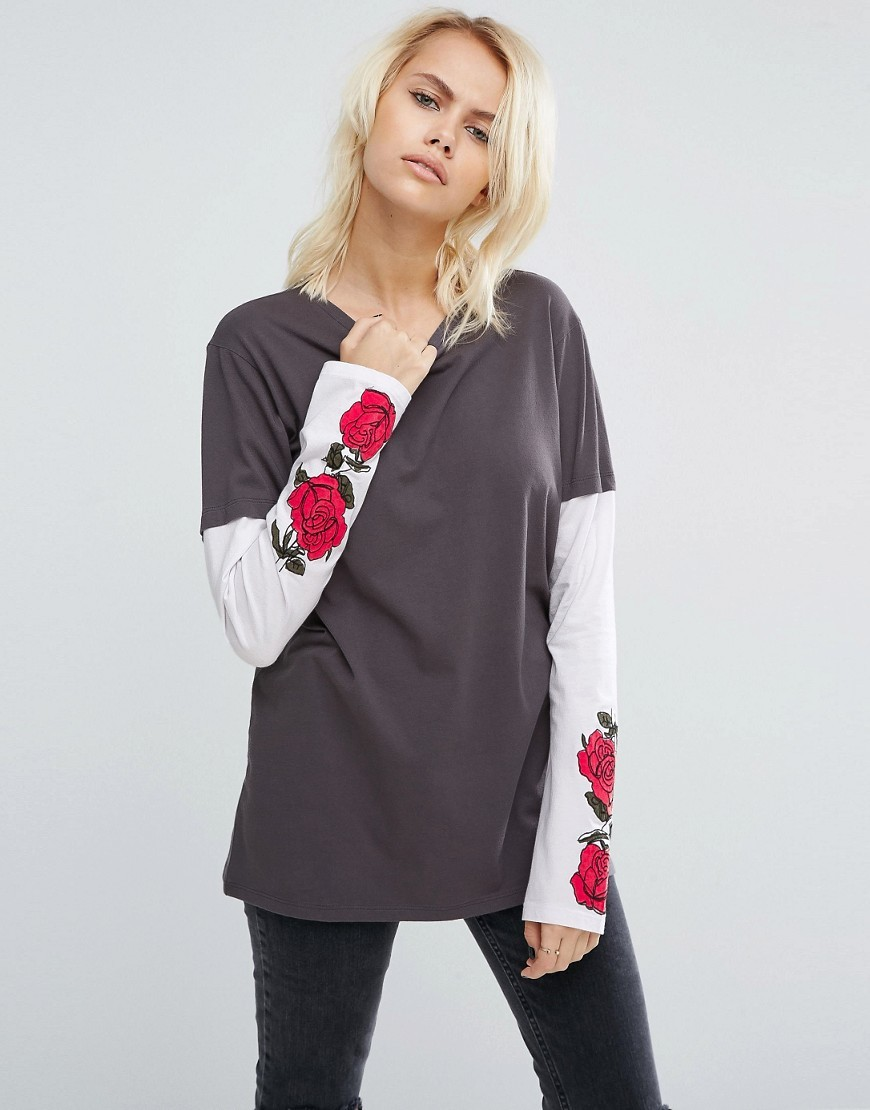 T Shirt With Grunge Rose Print Multi - neckline: round neck; length: below the bottom; style: t-shirt; predominant colour: charcoal; occasions: casual; fibres: cotton - 100%; fit: loose; sleeve length: long sleeve; sleeve style: standard; pattern type: fabric; pattern size: standard; pattern: florals; texture group: jersey - stretchy/drapey; season: a/w 2016; wardrobe: highlight