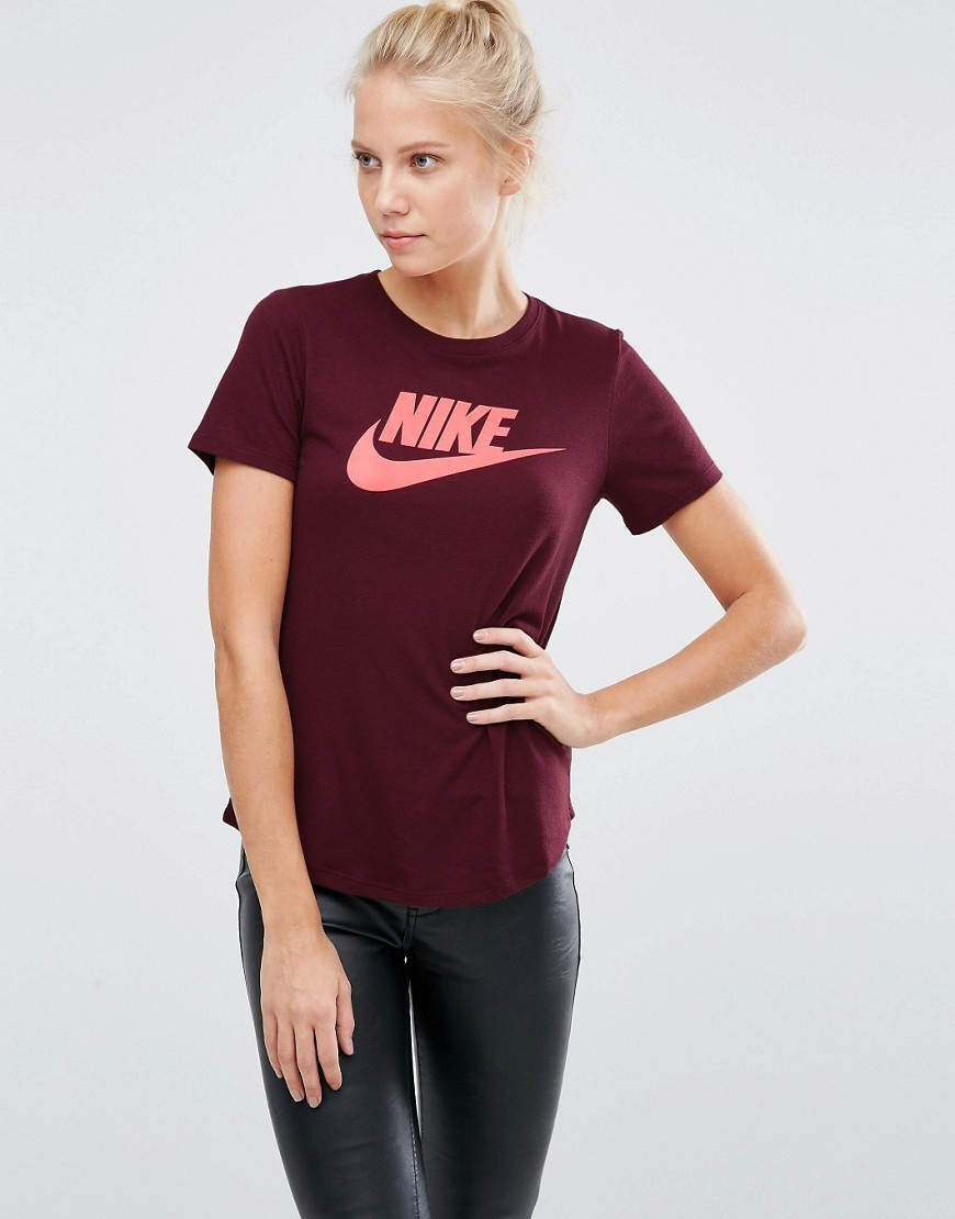 Futura Logo Fitted T Shirt In Maroon Aroon/(Bright Mango) - style: t-shirt; secondary colour: pink; predominant colour: burgundy; occasions: casual; length: standard; fibres: polyester/polyamide - mix; fit: body skimming; neckline: crew; hip detail: adds bulk at the hips; sleeve length: short sleeve; sleeve style: standard; pattern type: fabric; texture group: jersey - stretchy/drapey; pattern: graphic/slogan; multicoloured: multicoloured; season: a/w 2016; wardrobe: highlight