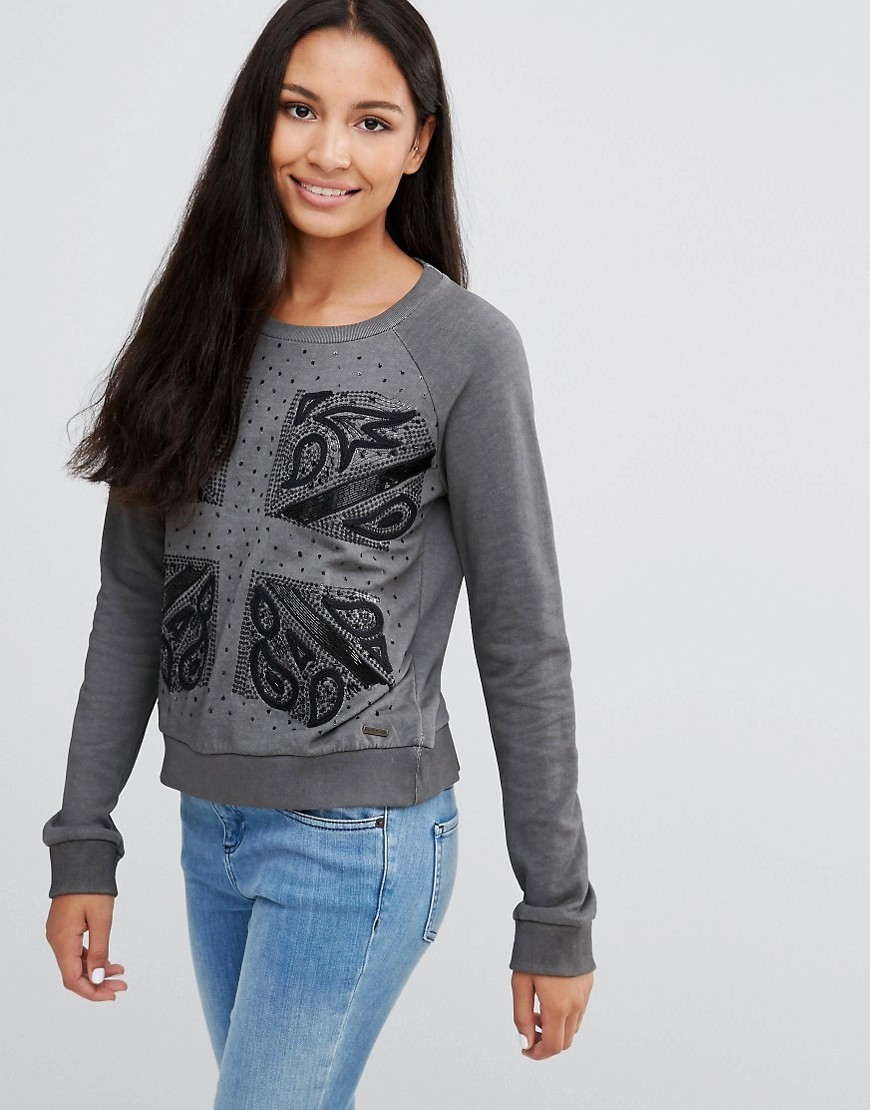 Colleen London Flag Sweater Black - style: standard; predominant colour: mid grey; secondary colour: black; occasions: casual; length: standard; fibres: cotton - 100%; fit: standard fit; neckline: crew; sleeve length: long sleeve; sleeve style: standard; pattern type: fabric; pattern: patterned/print; texture group: jersey - stretchy/drapey; multicoloured: multicoloured; season: a/w 2016; wardrobe: highlight