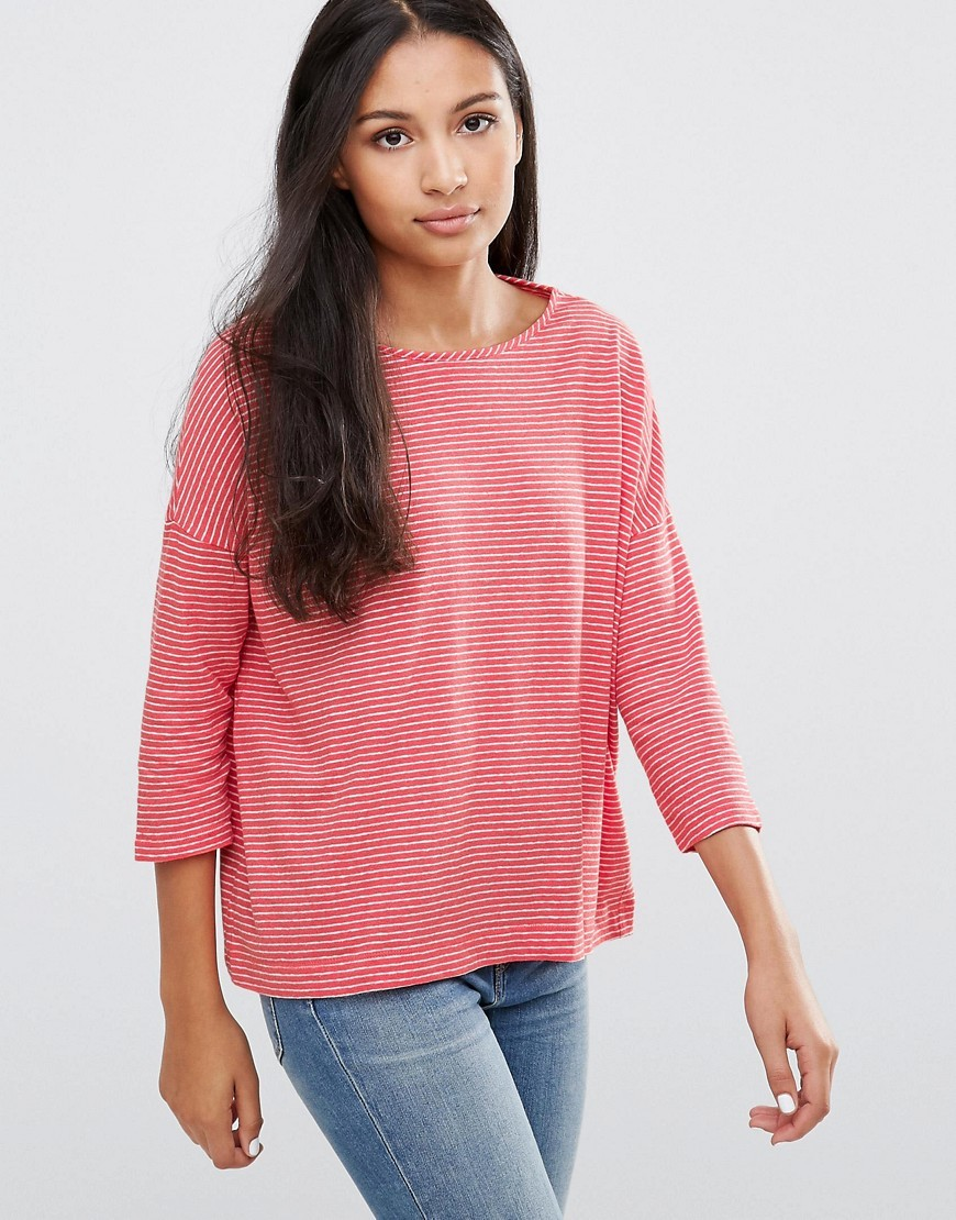 Stella Striped Long Sleeves Tee Crayon - pattern: plain; predominant colour: pink; occasions: casual; length: standard; style: top; fibres: linen - mix; fit: body skimming; neckline: crew; back detail: longer hem at back than at front; sleeve length: 3/4 length; sleeve style: standard; texture group: knits/crochet; pattern type: knitted - other; season: a/w 2016; wardrobe: highlight