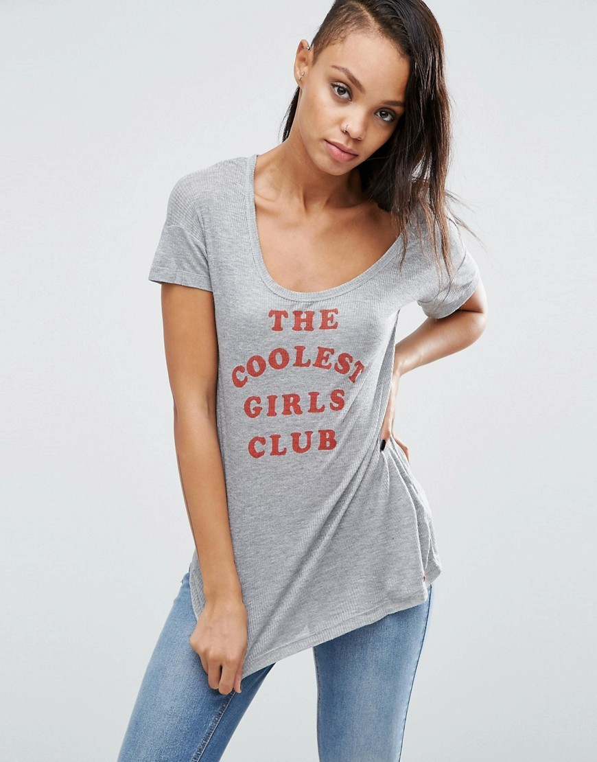 Katrina Cool Girls Club Tee Grey Marl - style: t-shirt; secondary colour: true red; predominant colour: light grey; occasions: casual; length: standard; neckline: scoop; fibres: viscose/rayon - stretch; fit: body skimming; sleeve length: short sleeve; sleeve style: standard; pattern type: fabric; texture group: jersey - stretchy/drapey; pattern: graphic/slogan; multicoloured: multicoloured; season: a/w 2016; wardrobe: highlight