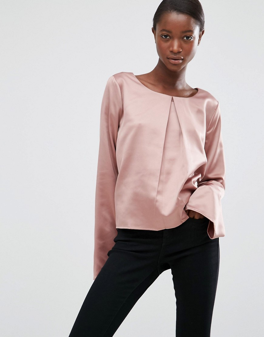 Moves Hiva Flared Sleeve Blouse Wild Rose - neckline: slash/boat neckline; pattern: plain; style: blouse; sleeve style: trumpet; predominant colour: pink; occasions: evening, creative work; length: standard; fibres: polyester/polyamide - 100%; fit: loose; sleeve length: long sleeve; pattern type: fabric; pattern size: standard; texture group: other - light to midweight; season: a/w 2016