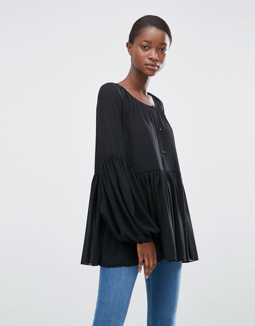 Moves Jine Gathered Blouse Black - neckline: round neck; sleeve style: puffed; pattern: plain; length: below the bottom; style: smock; predominant colour: black; occasions: casual; fibres: polyester/polyamide - 100%; fit: loose; sleeve length: long sleeve; pattern type: fabric; texture group: jersey - stretchy/drapey; wardrobe: basic; season: a/w 2016