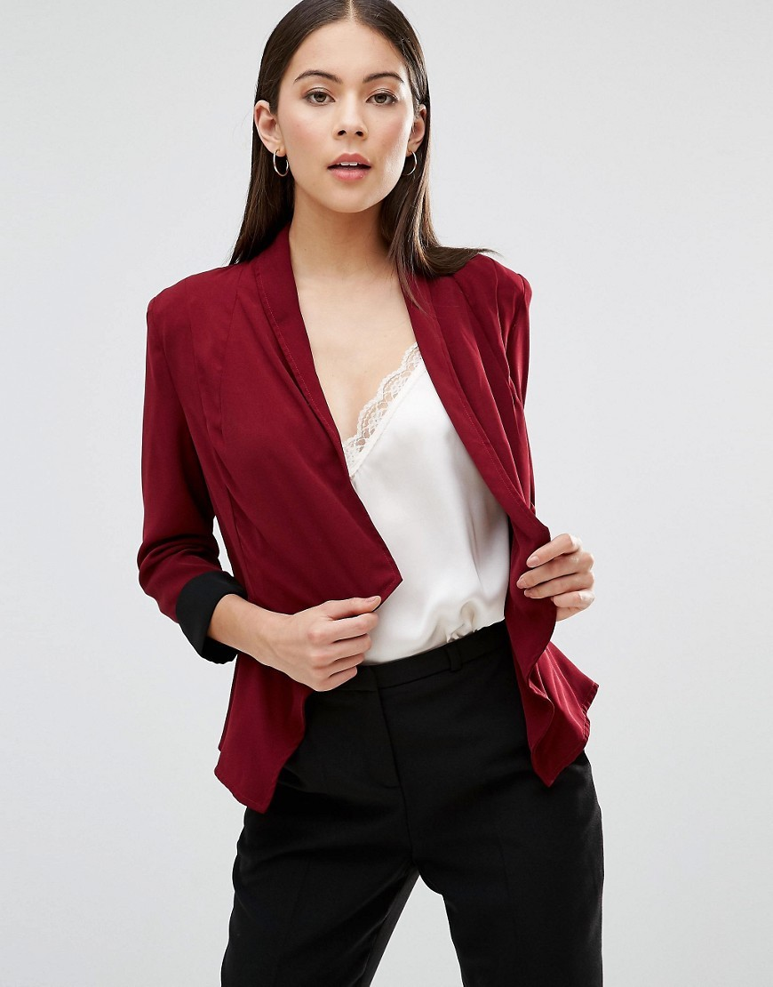 Waterfall Cropped Jacket Wine - style: single breasted blazer; collar: shawl/waterfall; fit: slim fit; predominant colour: burgundy; secondary colour: black; occasions: evening, creative work; length: standard; fibres: polyester/polyamide - 100%; sleeve length: 3/4 length; sleeve style: standard; texture group: crepes; collar break: low/open; pattern type: fabric; pattern size: light/subtle; pattern: colourblock; season: a/w 2016