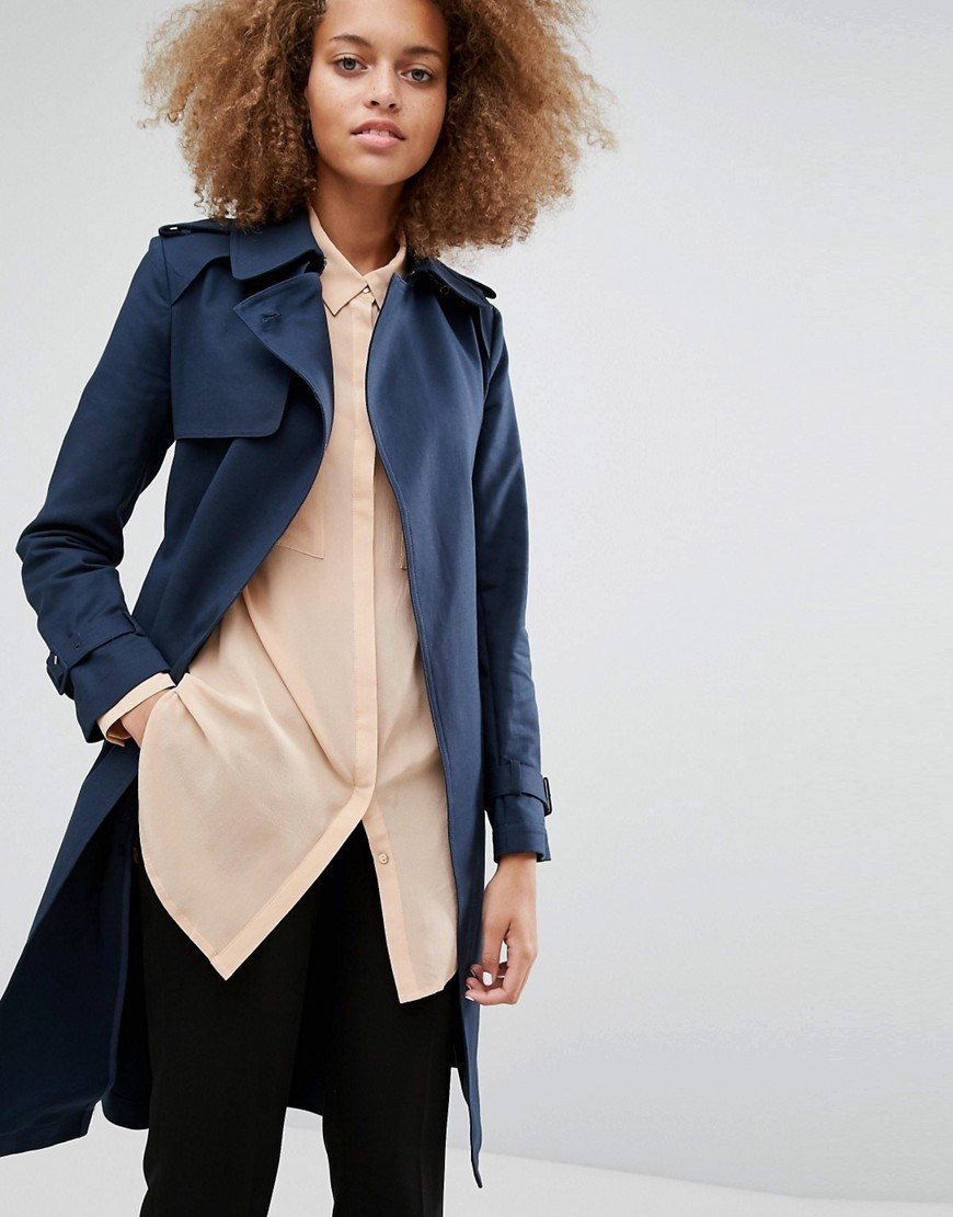 Clean Belted Trench Navy - pattern: plain; style: trench coat; length: on the knee; fit: slim fit; collar: standard lapel/rever collar; predominant colour: navy; occasions: casual; fibres: cotton - stretch; sleeve length: long sleeve; sleeve style: standard; collar break: medium; pattern type: fabric; texture group: woven bulky/heavy; wardrobe: basic; season: a/w 2016