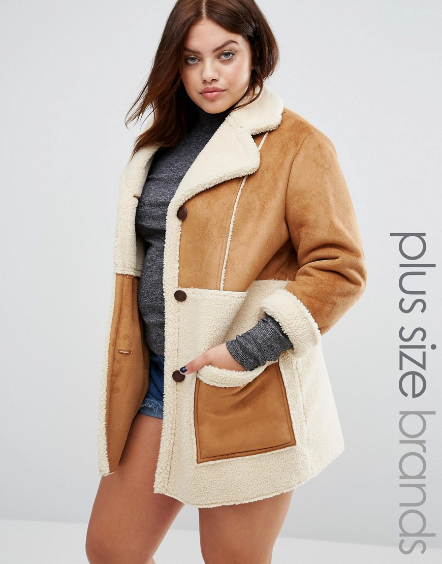 Oversized Faux Shearling Panel Coat With Zip Detail Brown - length: below the bottom; fit: loose; style: single breasted; collar: standard lapel/rever collar; secondary colour: ivory/cream; predominant colour: camel; occasions: casual; fibres: polyester/polyamide - mix; sleeve length: 3/4 length; sleeve style: standard; collar break: medium; pattern type: fabric; pattern size: standard; pattern: colourblock; texture group: sheepskin; hip detail: front pockets at hip; season: a/w 2016