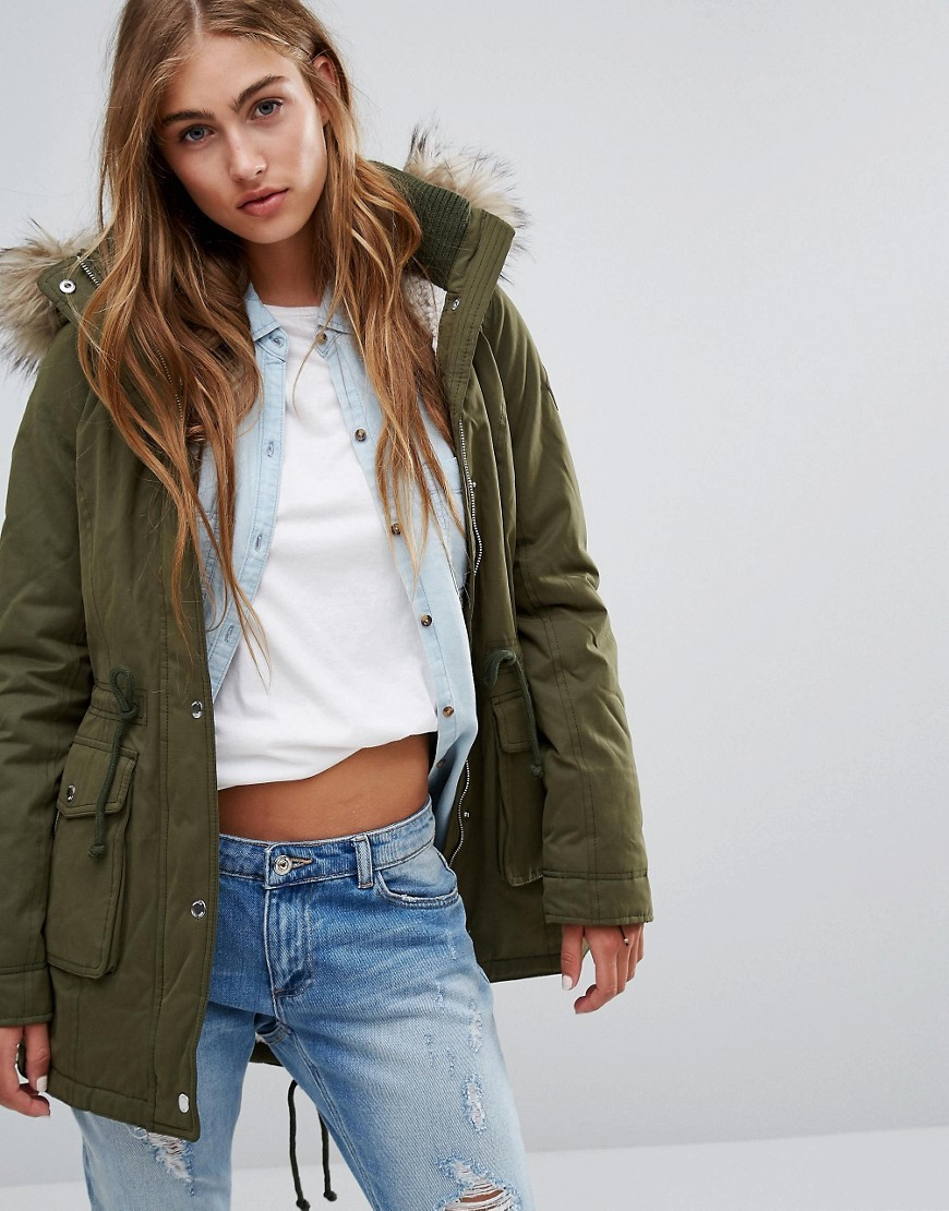 Sherpa Lined Parka Coat With Faux Fur Trim Hood Olive - pattern: plain; length: standard; collar: funnel; fit: loose; style: parka; back detail: hood; predominant colour: khaki; occasions: casual; fibres: polyester/polyamide - mix; sleeve length: long sleeve; sleeve style: standard; texture group: cotton feel fabrics; collar break: high; pattern type: fabric; embellishment: fur; season: a/w 2016
